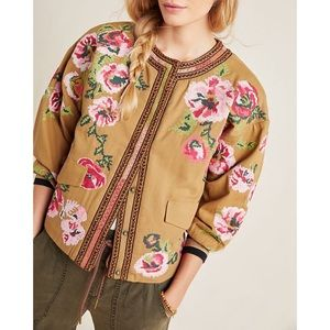 Anthropologie Needlepoint Bomber Jacket Floral